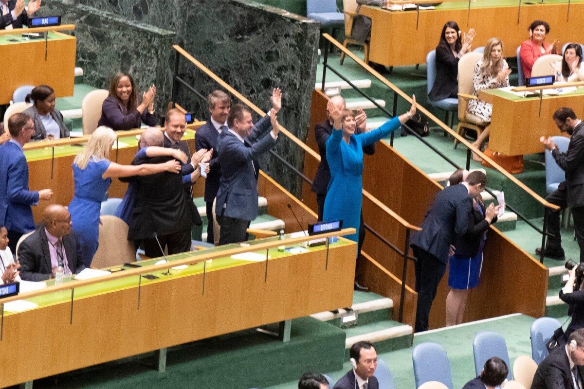 ÜRO julgeolekunõukogu valimised 7.06.2019. President Kaljulaid rõõmustas silmnähtavalt, saades teadlikuks Eesti liikmelisusest aastail 2020-2021.