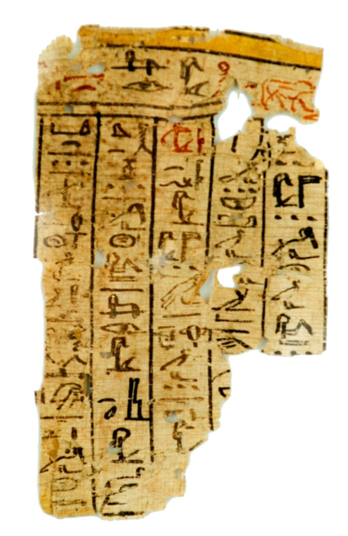 Фрагмент папируса из гробницы недалеко от Мемфиса иероглифическим шрифтом с отрывком из Книги Мертвых. Новое царство (XVI-XI вв. до н.э.).