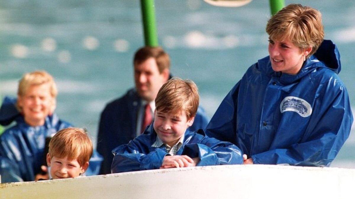 Принцесса Диана с Уильямом (здесь ему 9 лет) и семилетним Гарри около Ниагарского водопада