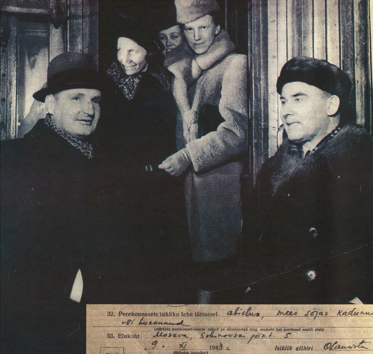 1941: NSV Liidu Ülemnõukogu liikmed sõidavad Balti jaamast rongiga Moskvasse. Vasakult: V. Botškarjov, Juliana Telman, A. Haberman, Olga Lauristin ja Johannes Vares-Barbarus. Allpool välja võte Olga Lauristini parteitoimikust.