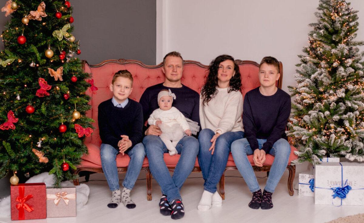 Мама Марина, папа Виктор, сыновья Марек и Микк и дочка Мика