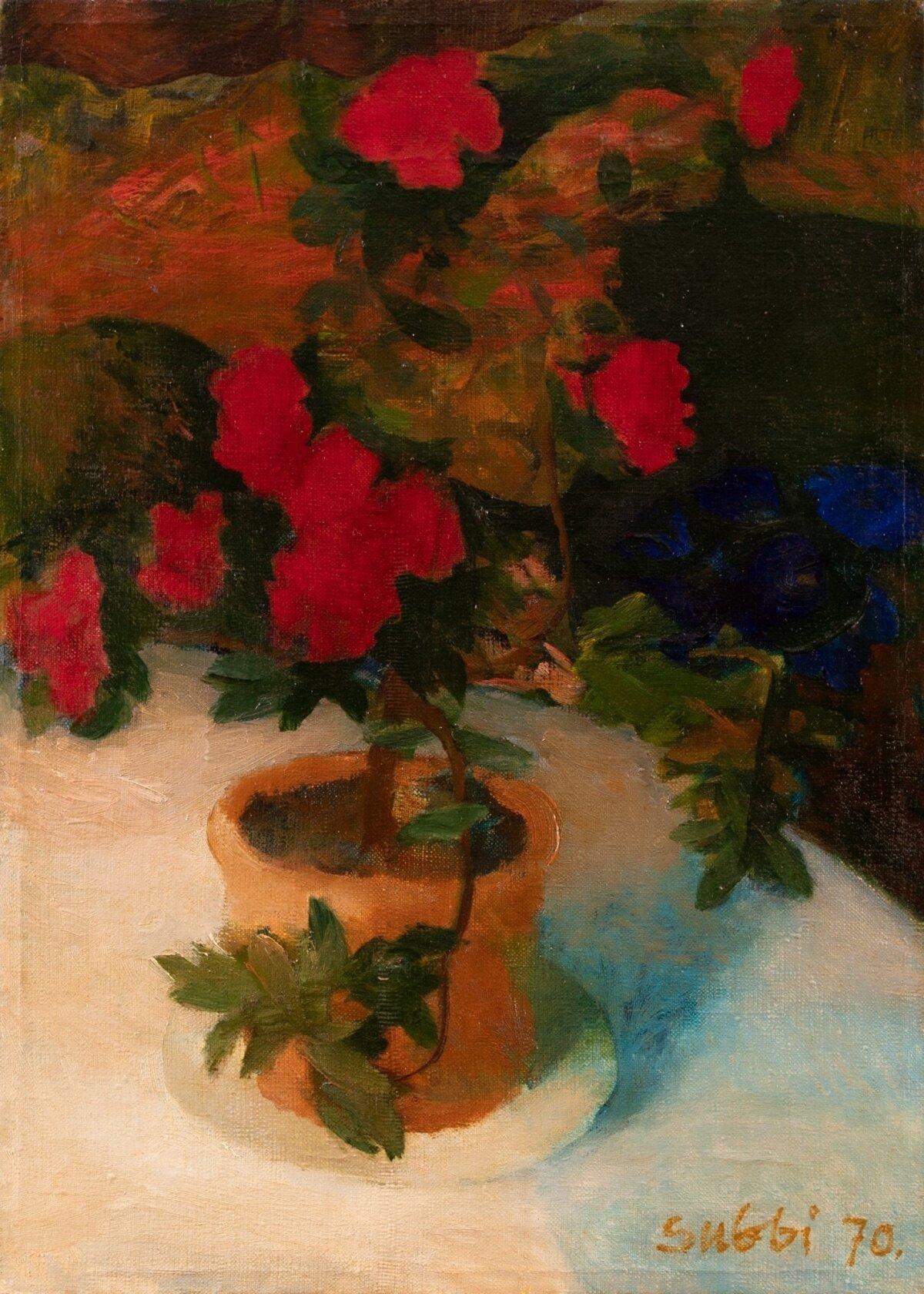 "Olev Subbi ""Väga punane lill"" (1970, tempera, õli, lõuend, 42 x 30,5 cm). Alghind 3500, haamrihind 35 500 eurot."