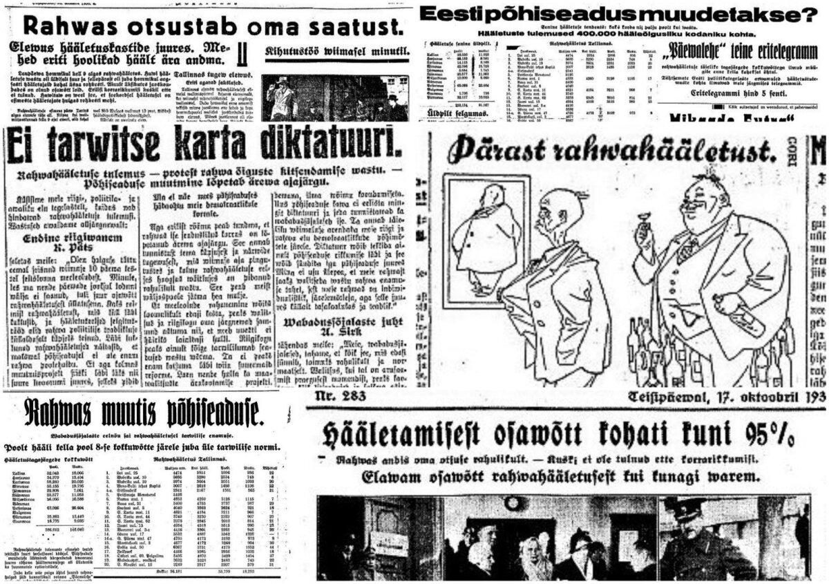 Kollaaž rahvahääletust puudutavatest ajalehepealkirjadest. Rahulolematu rahvas otsustas kolmandal katsel põhiseadust muuta.