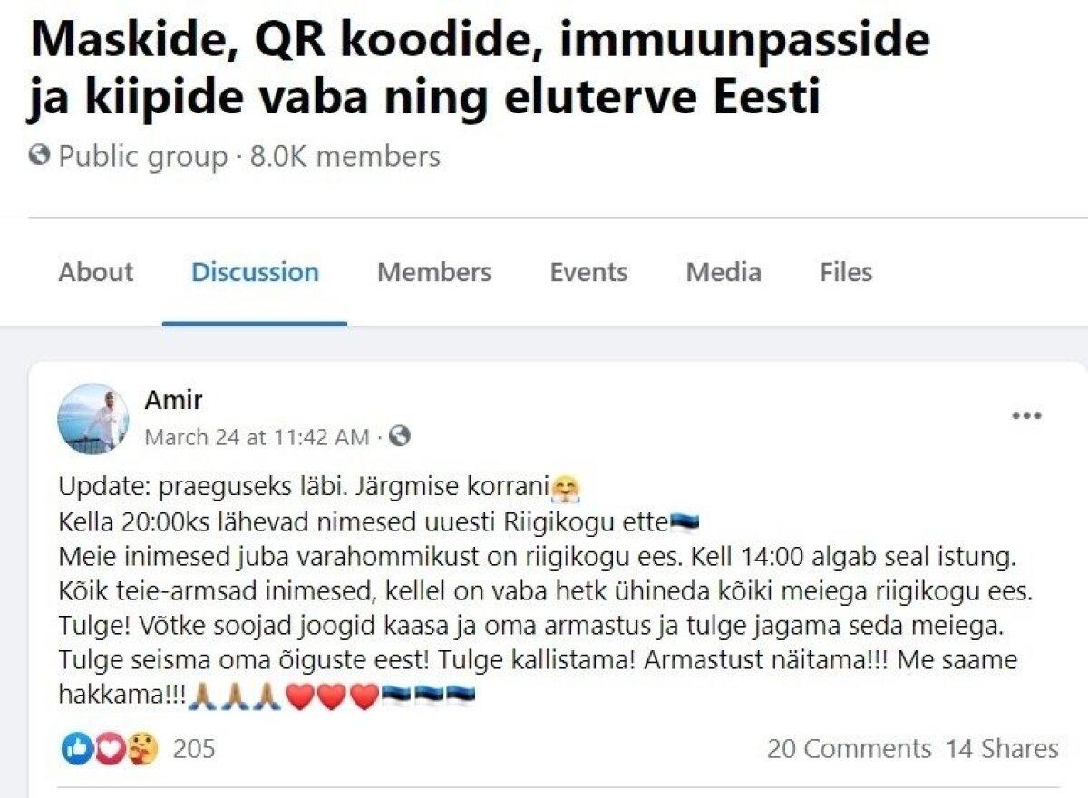 KONARLIKUS EESTI KEELES: Enda sõnutsi Moskvast pärit ja Tallinnas elav Amir (see on valenimi) paistab Toompea meeleavalduste korraldamisega hästi kursis olevat. Kas lihtsalt paranoiline vandenõuteoreetik või midagi hullemat?