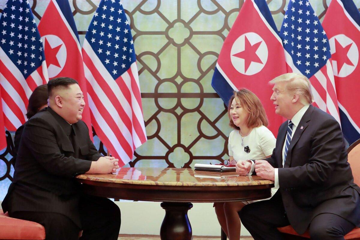 Põhja-Korea juht Kim Jong-un ja USA president Donald Trump Hanoi tippkohtumisel.