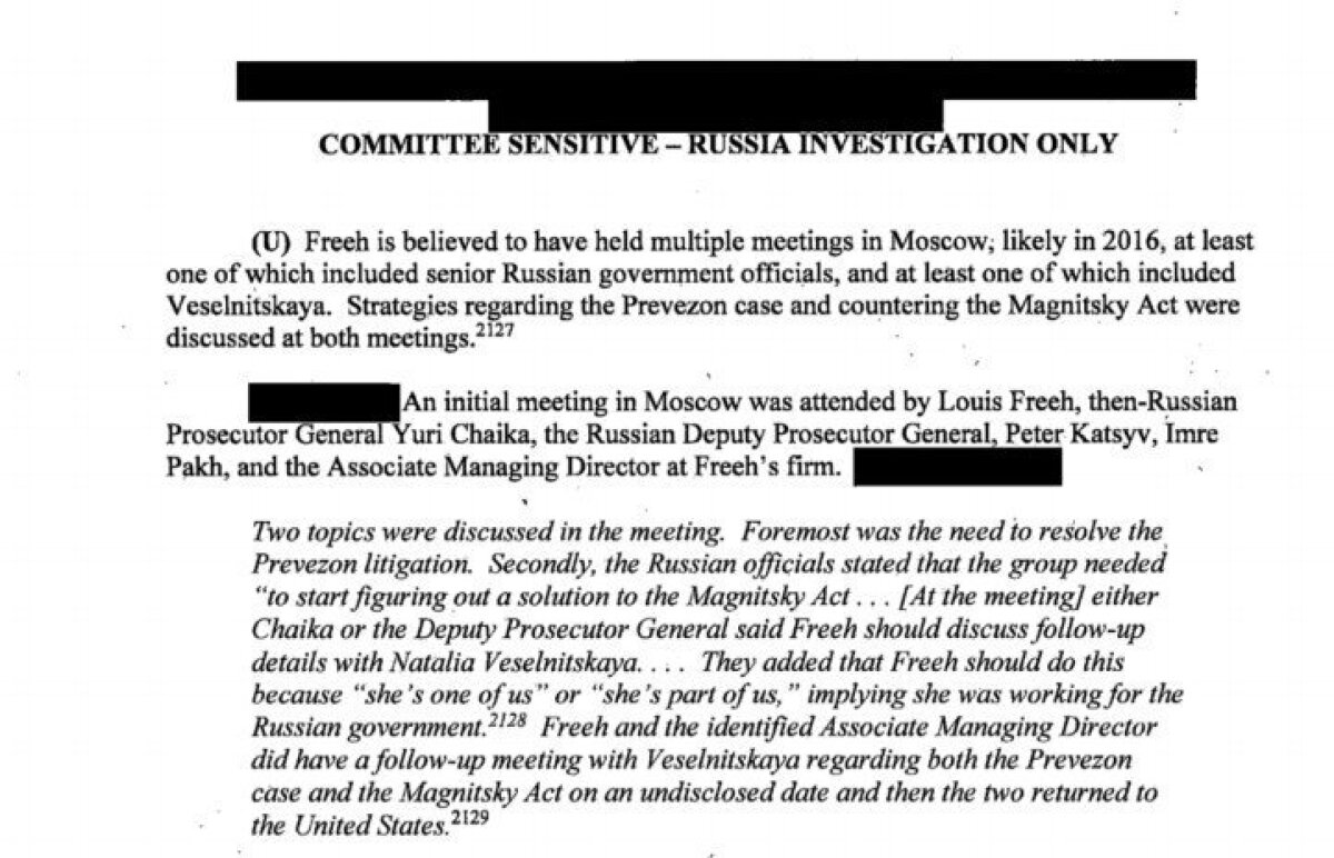 Väljavõte USA senati luureraportist. Freeh kohtus Prevezoni asjus Venemaa riigiametnikega.