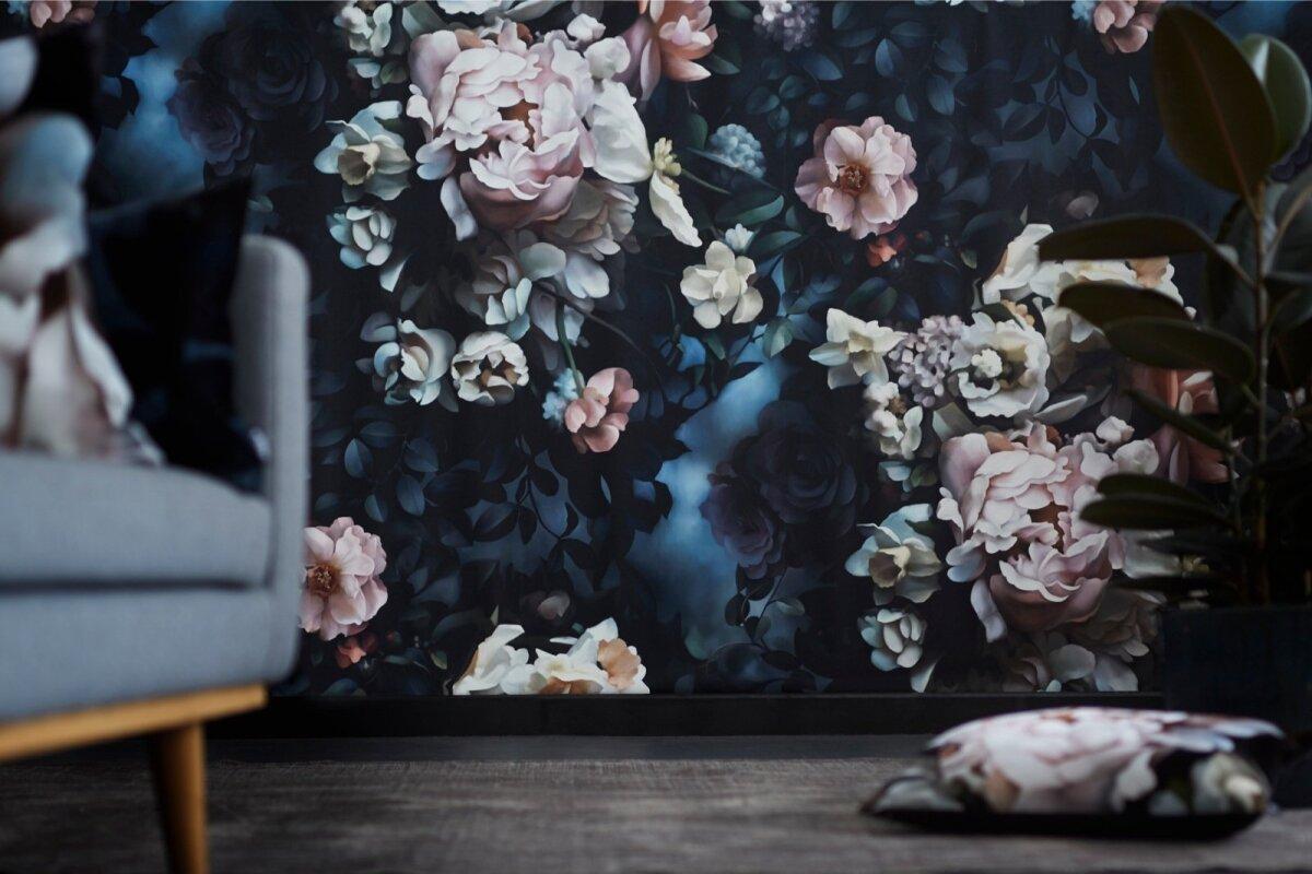 Still Life With Shadows Blue Wallpaper. Ellie Cashman Design, elliecashman.com
