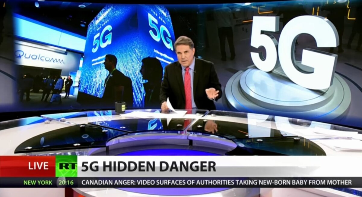 RT America levitamas USA-s 5G vandenõuteooriaid.