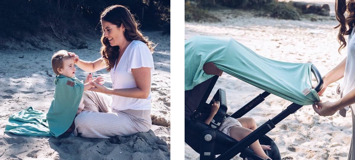 Cloby päikesekaitsega vankrikate ja rannatekk ühes, UPF 50+