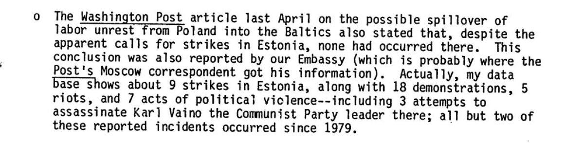 Väljavõte CIA avalikustatud dokumendist, milles viidatakse Vaino mõrvakatsetele.