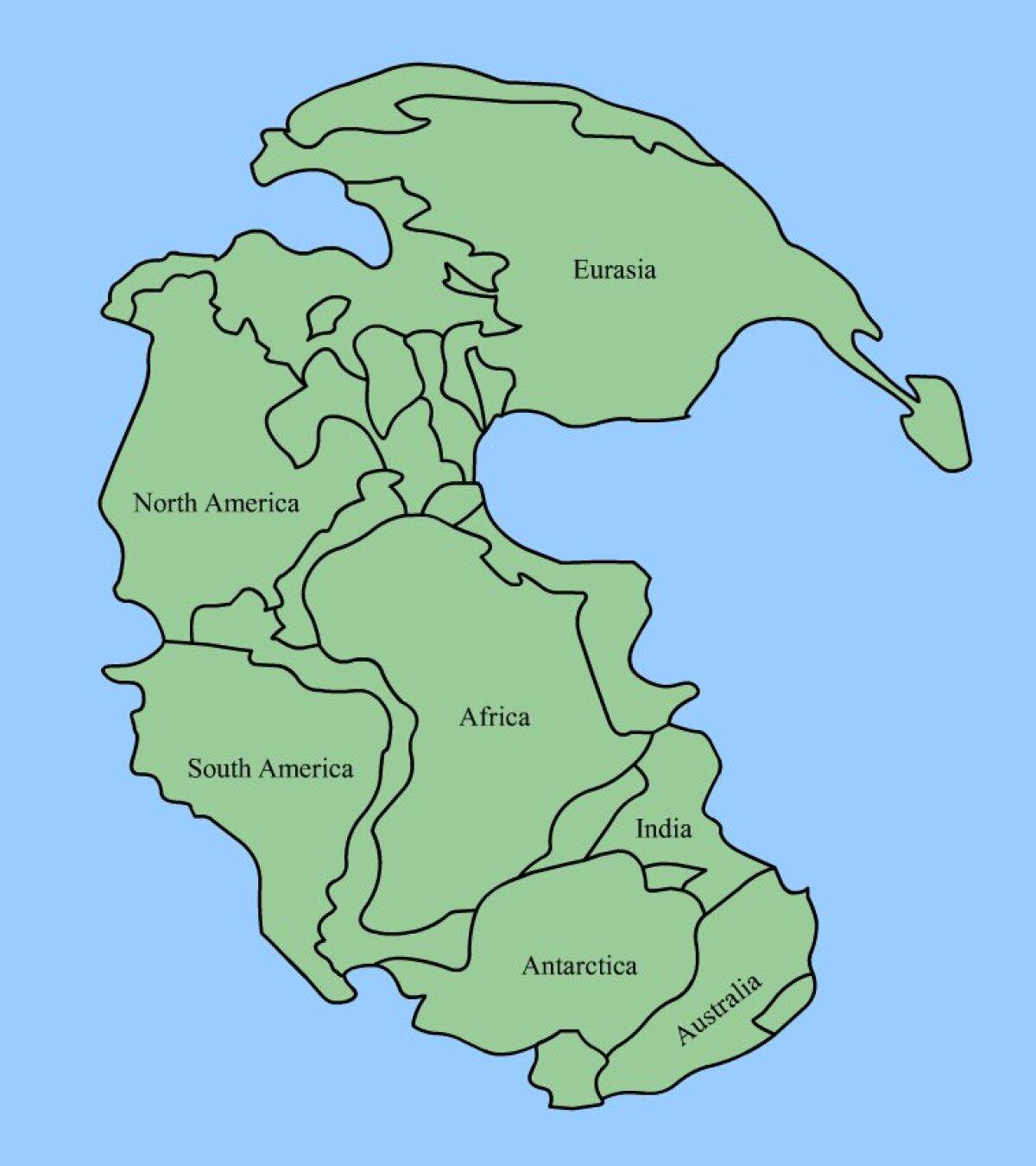 Hiidmanner Pangaea umbes 300 kuni 100 miljonit aastat tagasi.