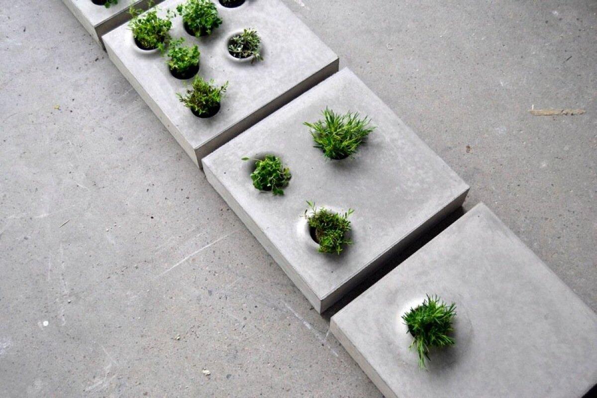 Betoonkonteineritest taimealused Gray to Green, disainer Caroline Brahme töö Greenworksile