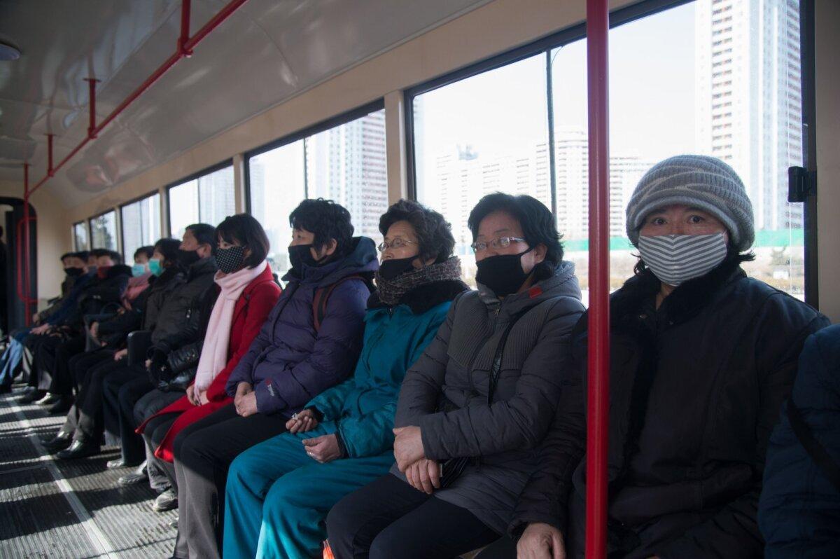 Pyongyangi trammisõitjad möödunud nädalal.