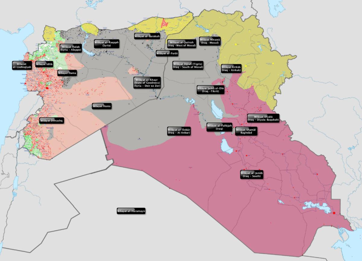 Da'ishi vilajetid 2015, pärast seda on kaotatud alasid idas ja põhjas, edenetud aga eriti edelas.