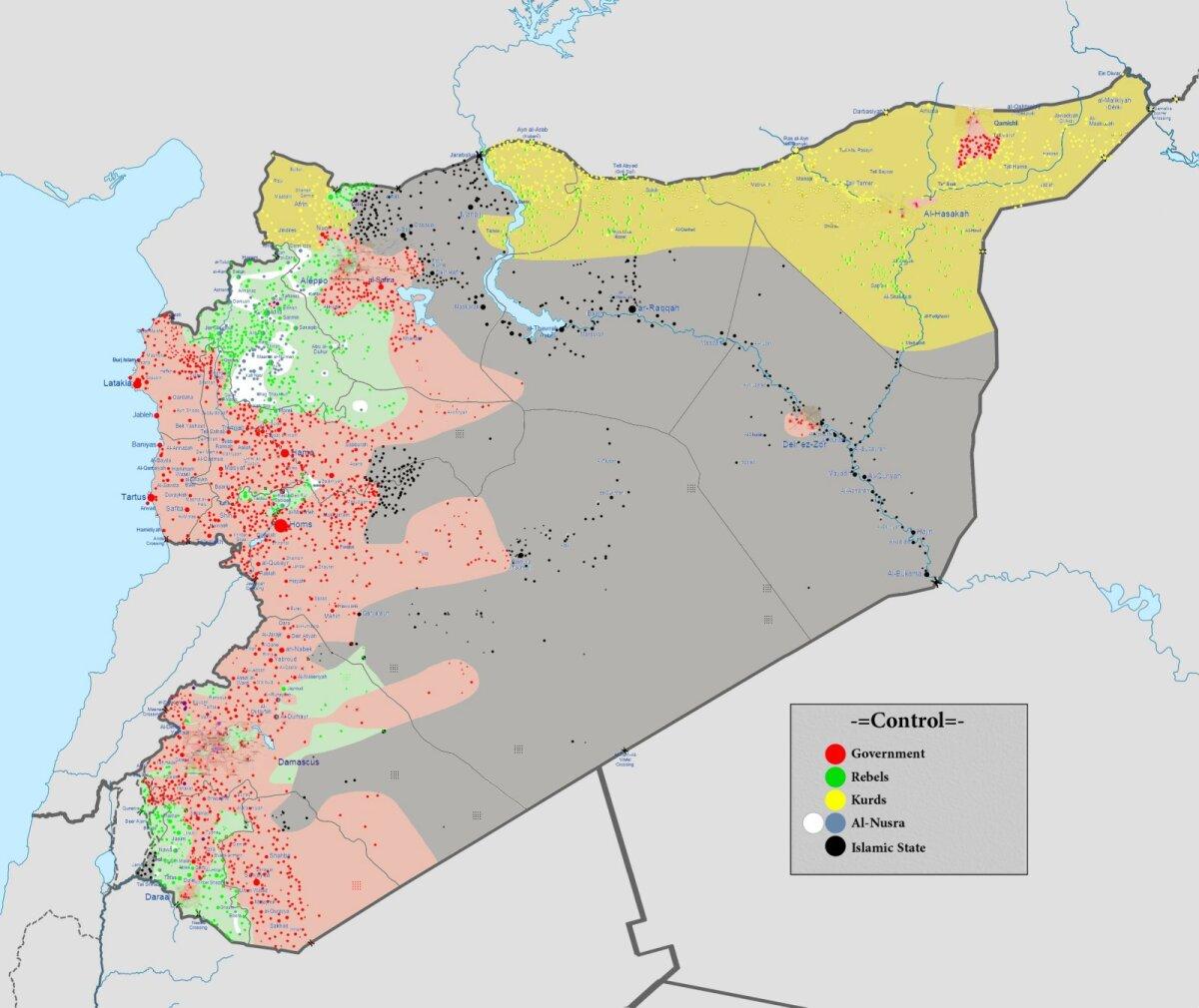 Süüria sõjatandri kaart 29. veebruaril 2016