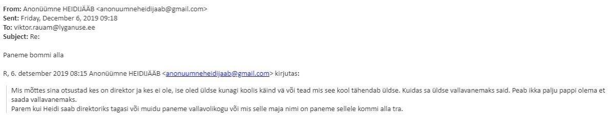 Viktor Rauamile saabunud ähvarduskiri.
