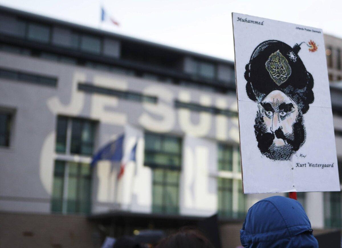 Enim pahameelt äratanud Westergaardi illustratsioon 2015. aastal protestil Berliinis.