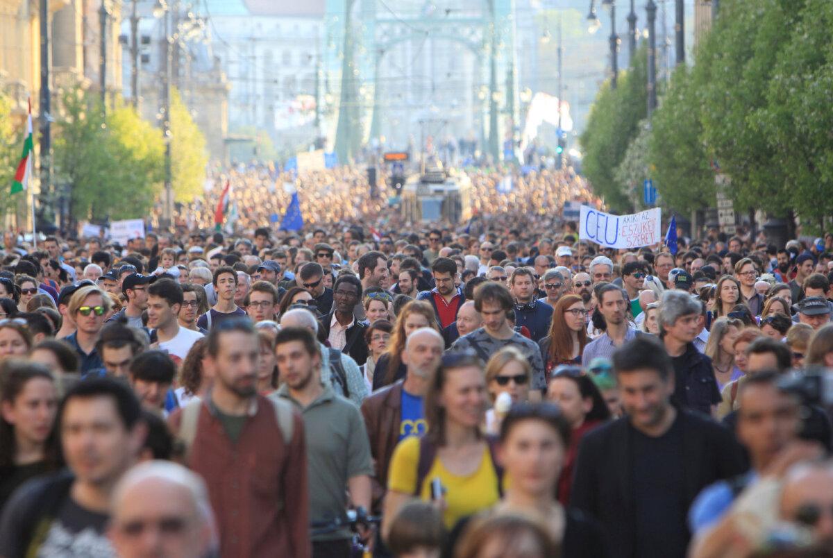Pühapäevane meeleavaldus Budapesti kesklinnas