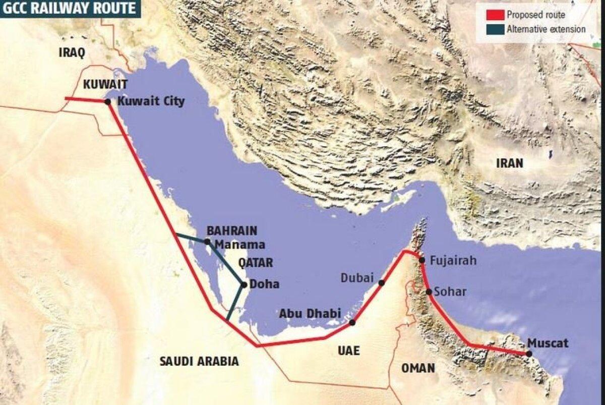 Pärsia lahe raudtee kavandatud trass, lisaühendusega üle Bahreini ja Katari.