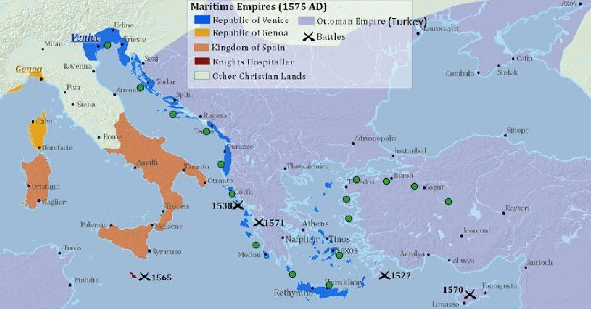 Veneetsia vabariigi ja selle valduste kaart Palmanova ehitamise alguse paiku.
