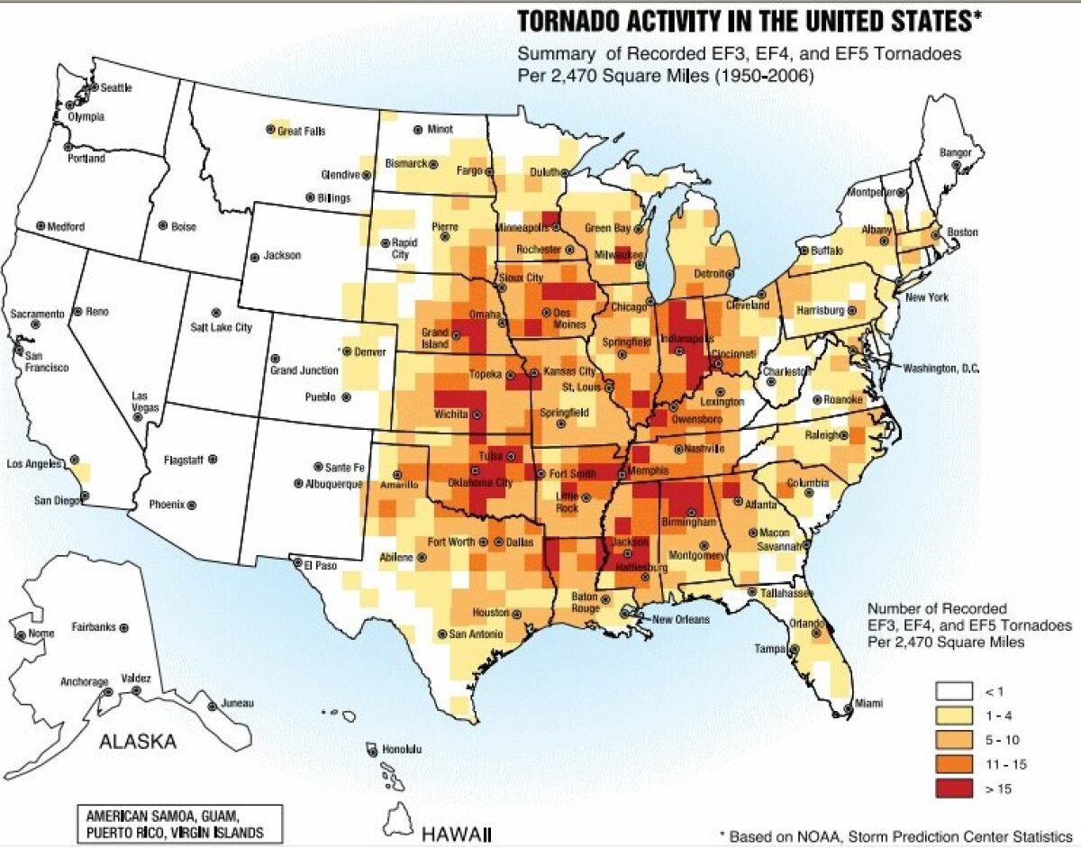 Tornaadode sagedus USA-s.
