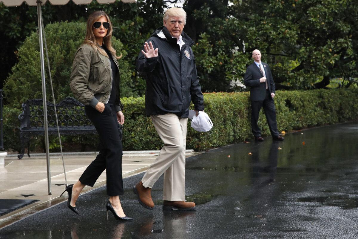 В 2017 году во время визита в пострадавший от наводнения Техас Мелания Трамп не отказалась от высоких каблуков
