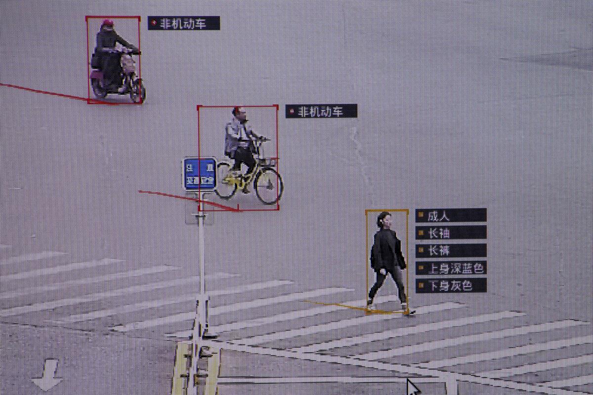 Hiina näotuvastustarkvara nimega SenseTime liiklejaid identifitseerimas.