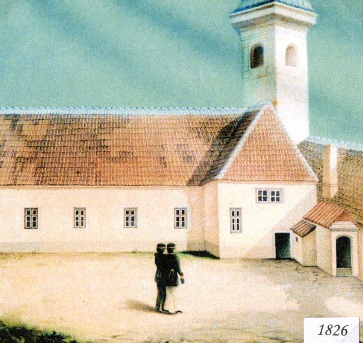 Tallinna Kubermangugümnaasiumi hoone 1826. aastal. Toona oli koolimaja säilitanud veel keskaegse ilme.