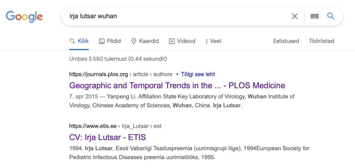 kuvatõmmis Google'i otsingust