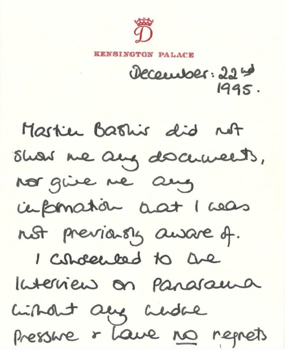 """""""Мартин Башир не показывал мне никаких документов и не давал мне какой-либо неизвестной мне ранее информации. Я дала согласие на интервью программе """"Панорама"""" без какого-либо давления и ни о чем не сожалею"""", - было сказано в письме Дианы Баширу от 1995 года."""