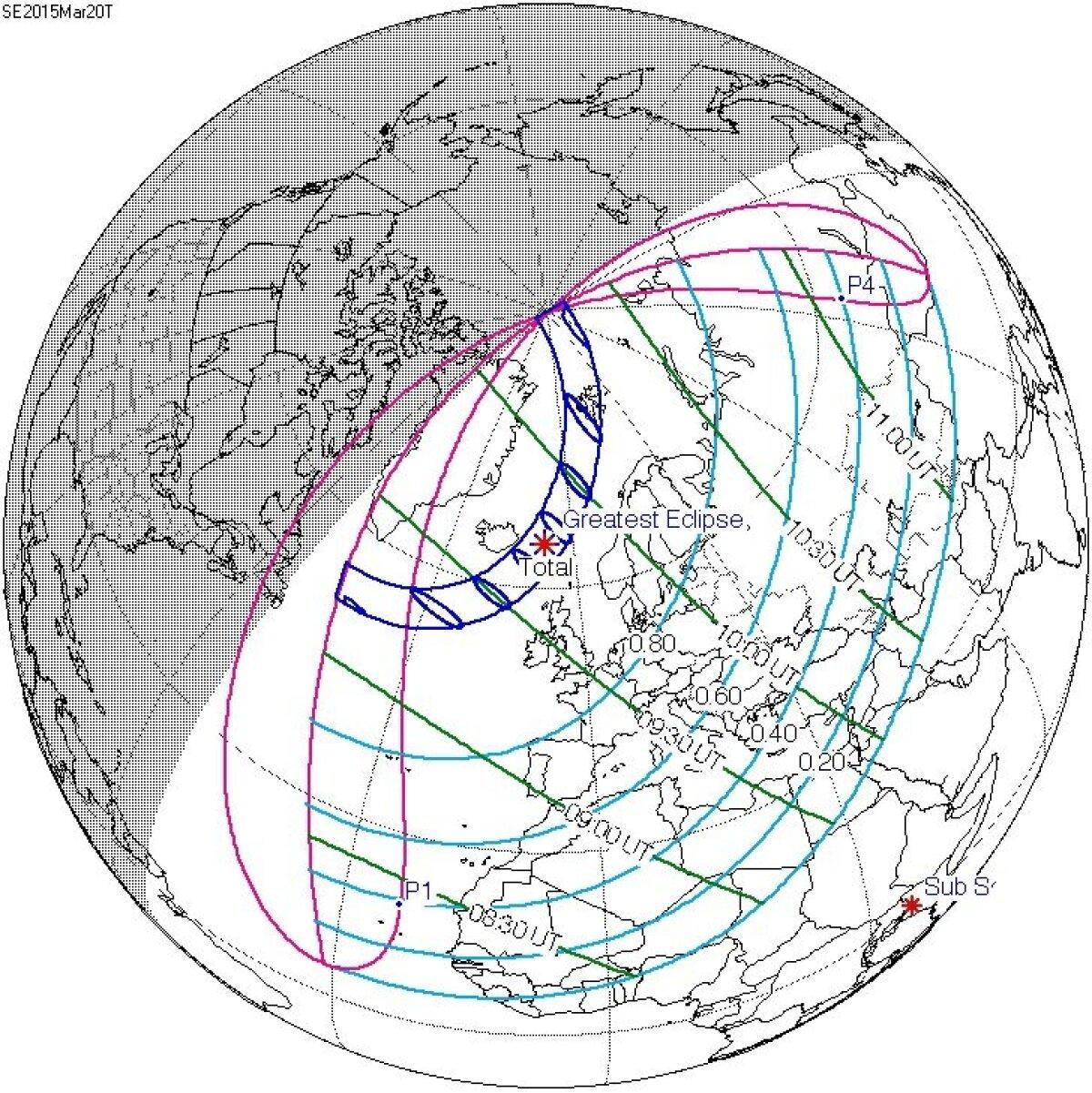 Päikesevarjutuse ulatus 20. märtsil