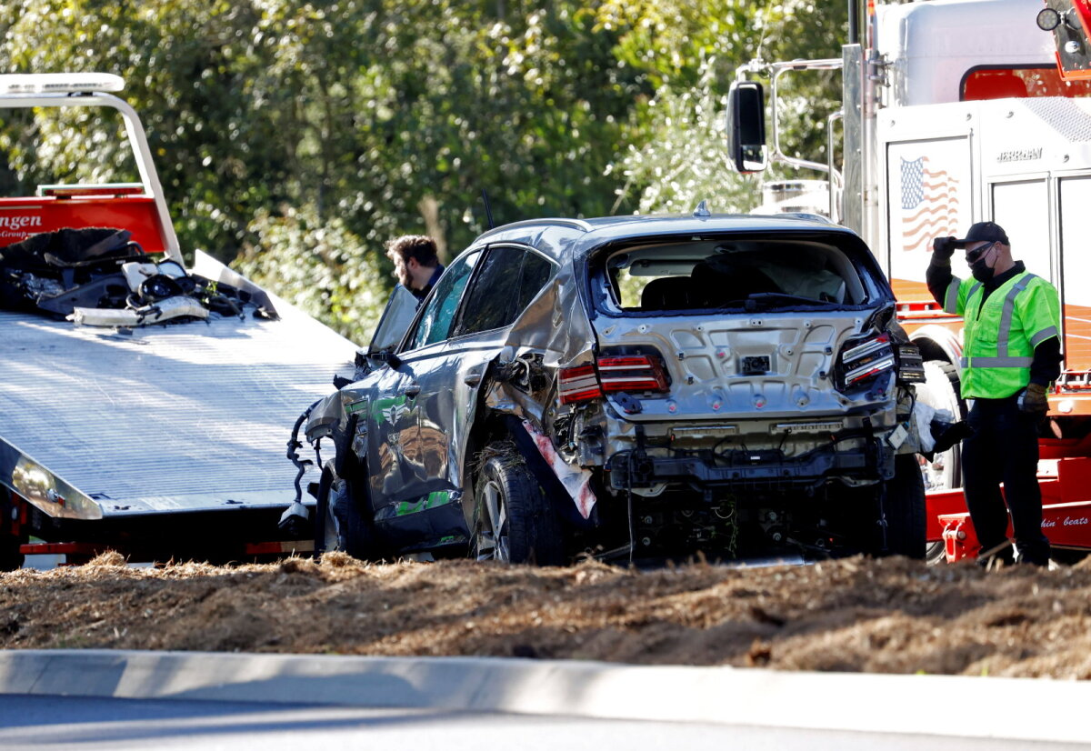 Tigee Woodsi auto pärast avariid.