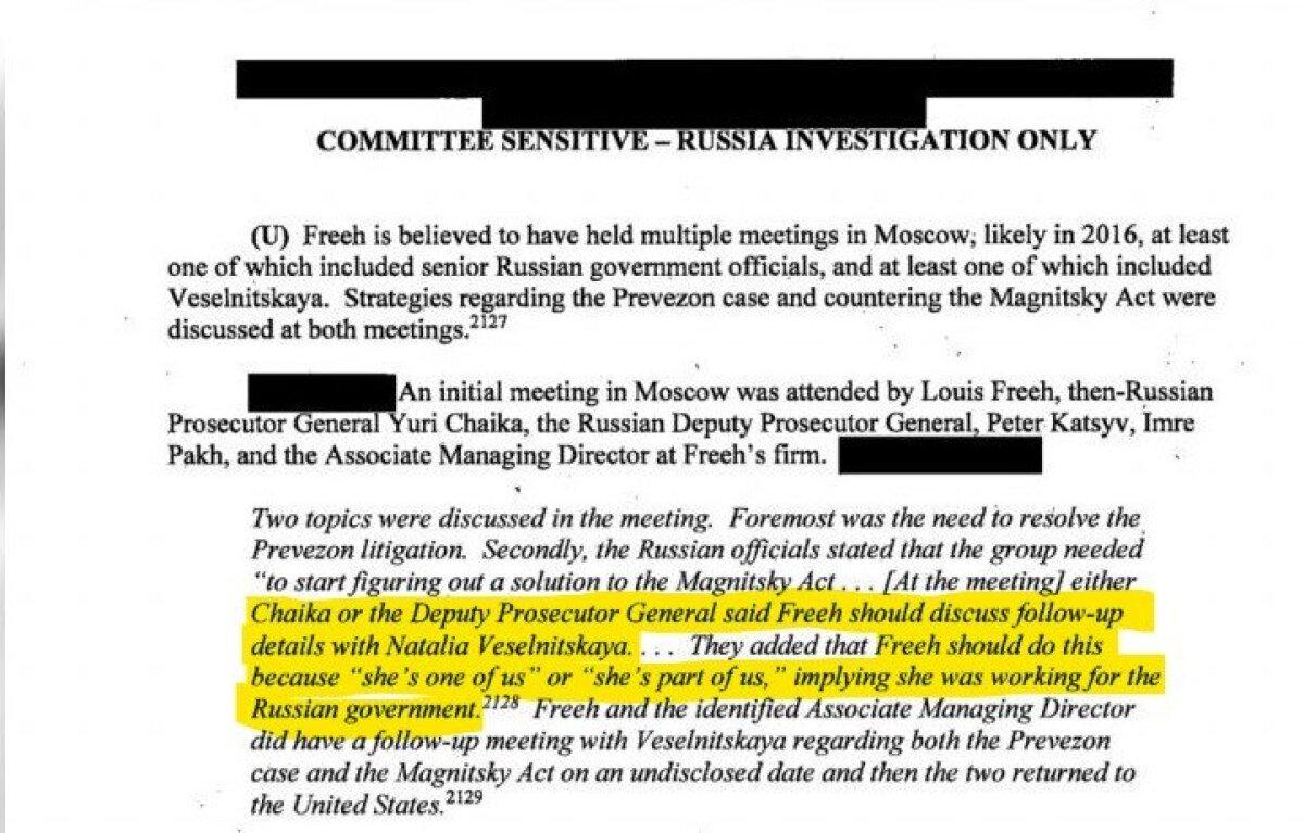 USA senati luurekomisjoni raport näitab koostööd Louis Freeh ja Putini trollide vahel.