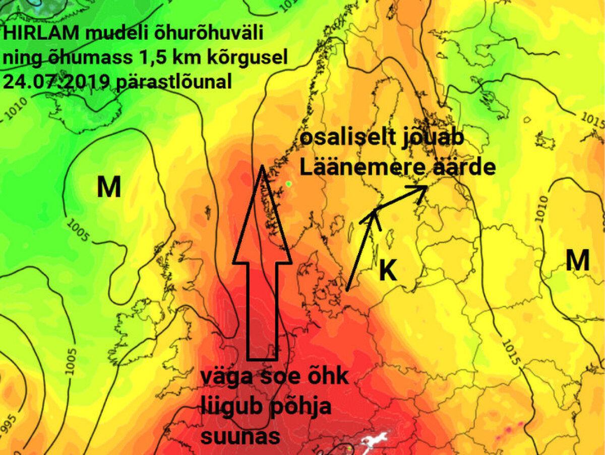 Suurem laine läheb Eestist üle, aga sooja ilma saame meiegi