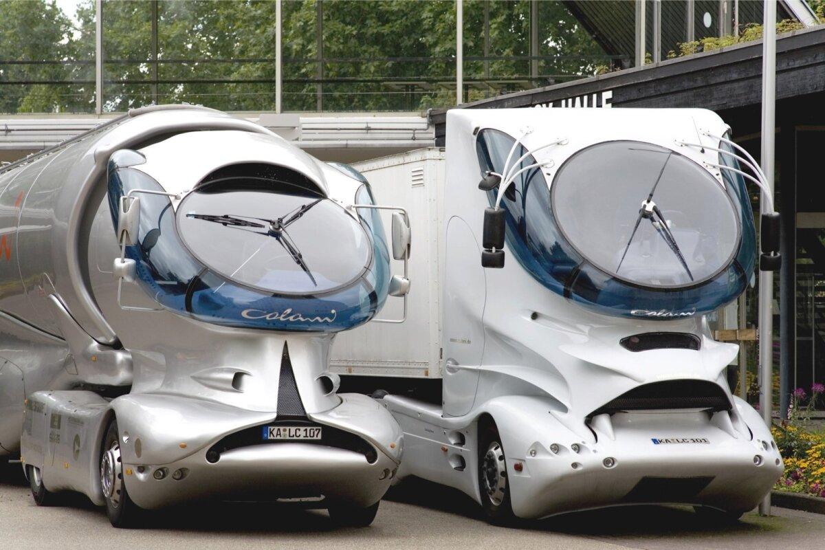 VEOAUTOD, MITTE UFOD: Esimesed futuristliku kujundusega veoautod lõi Luigi Colani juba 1970. aastatel ja arendas neid hiljem pidevalt edasi.