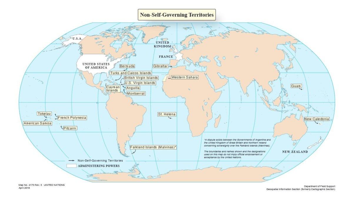 Omavalitsuseta territooriumid ehk kolooniad tänapäeval. ÜRO kaart