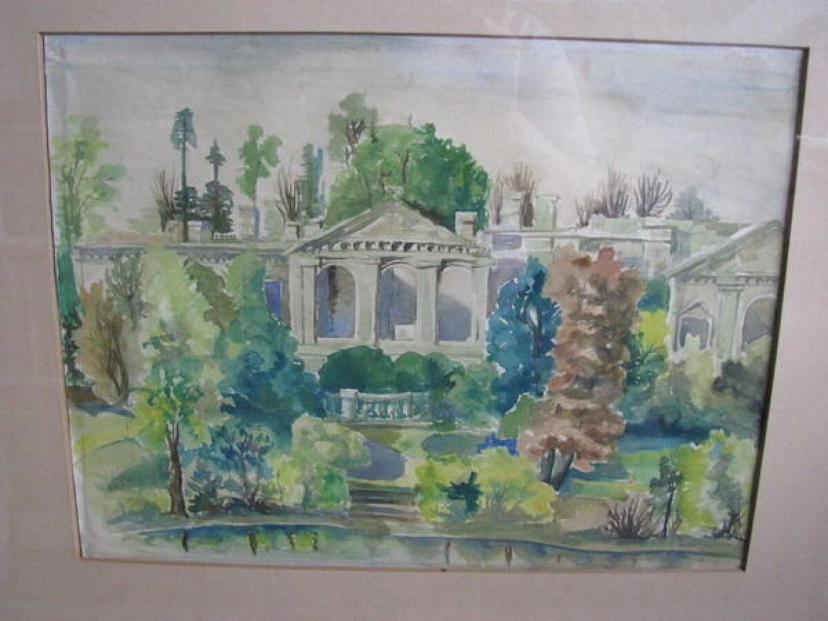 """""""Raadi mõisa varemed"""" Autor teadmata, akvarell 1940. aastate teisest poolest."""