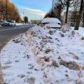 На кругу Ыйсмяэ с проезжей части уберут горы снега. Водителей просят временно там не парковаться!