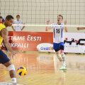 Kontrollmängus Brasiiliaga saadud punkti üle rõõmustavad Robert Täht (6), Hardi Talv (16) ja Denis Losnikov.