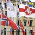 Valgevene opositsiooni kasutatav lipp Riia hoki MMil