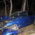 DELFI FOTOD: Politsei avastas ränga avarii teinud auto ümber askeldamas purjus mehed