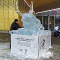 ФОТО | В Кристийне установлена ледяная скульптура металлического быка