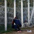 Ungari politseinikud parandavad aias auku, kust põgenikud loata riiki sisenesid.