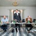 Kolme valitsuspartei juhid Helir-Valdor Seeder, Jüri Ratas ja Mart Helme.