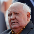 Former Soviet President Mikhail Gorbachev attends the Victory Day parade at Red Square in Moscow