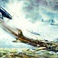 Saada lähedastele mälestuseks! Saksa propaganda  postkaart, mis kujutab õhulahingut saksa hävitajate ja briti pommitajate vahel. Corbis / Scanpix