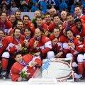 Kanada hokimehed 2014. aastal Sotšis olümpiavõitu tähistamas.