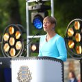 President Kersti Kaljulaid Roosiaias kõnet pidamas