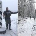 FOTO | Piiri valvatakse lumisel talvel suuskadel: ihu läheb higiseks, aga töö saab kiiremini tehtud