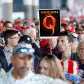 """Qanoni sümboolika Trumpi kampaaniaüritusel. Ülemine lühend on sõnadest """"Kuhu läheb üks meist, läheme me kõik koos"""""""